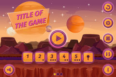 Sci-fi game cartoon user interface with control. Elements, buttons, status bar and icons on seamless alien planet landscape. Mountain place, play level Stock Image