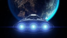 Destination Earth. Giant Spaceship flies to Planet, engines flashing, 3d animation. Texture of Earth was created in