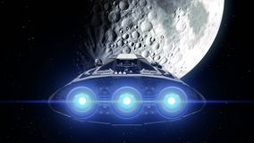 Destination Moon. Giant Spaceship flies to natural satellite of Earth, engines flashing, 3d animation. Texture of the. Sci-fi giant spaceship is approaching Moon stock video footage