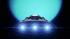 Sci-fi giant spaceship is approaching Uranus. Destination Uranus. Giant Spaceship flies to Planet, engines flashing, 3d animation. Texture of the Planet was stock video footage