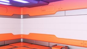 Sci-Fi grunge damaged metallic corridor background 3d render royalty free illustration