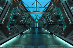 Sci-Fi grunge metallic blue corridor background. Illuminated with blue neon lights 3d render Royalty Free Stock Images