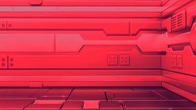 Sci-Fi grunge metallic corridor background 3d render stock illustration