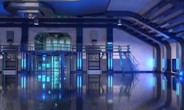 Sci-Fi hangar blue interior Stock Photography