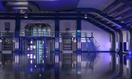 Sci-Fi hangar blue interior Royalty Free Stock Images