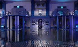 Sci-Fi hangar blue interior vector illustration