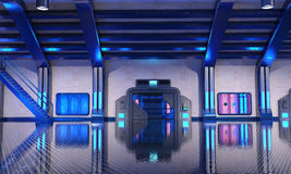 Sci-Fi hangar blue interior Royalty Free Stock Photos
