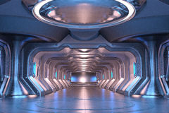 Sci-Fi hangar blue interior Royalty Free Stock Images