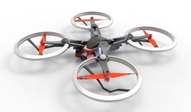Sci-fi hi tech drone quadcopter with remote control Royalty Free Stock Photography