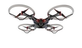 Sci-fi hi tech drone quadcopter with remote control. Quadcopter control in three-dimensional space using a noninvasive motor imagery-based brain-computer Stock Photo