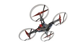 Sci-fi hi tech drone quadcopter with remote control Stock Photography