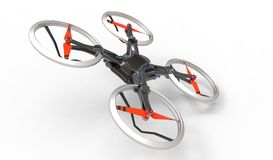 Sci-fi hi tech drone quadcopter with remote control Stock Photos