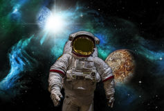 Sci-fi image of Astronaut and Alien Planet Royalty Free Stock Images
