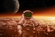 Sci-fi image of Astronaut and Alien Planet Stock Photo