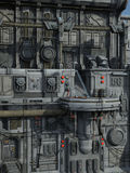 SCI-FI industrial town. 3D rendered sci-fi scene of industrial town Stock Photography