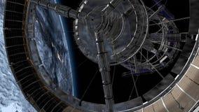 Sci Fi internationella rymdstationen ISS som kretsar över jordatmosfär Rymdstation som kretsar kring Earth animering 3D Beståndsd stock illustrationer