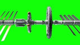 Sci-fi interplanetary spaceship on green screen