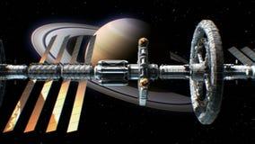 Sci-fi interplanetary spaceship on Saturn background