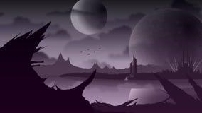 Sci Fi krajobraz na purpury planecie ilustracja wektor