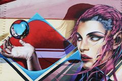 The Sci-Fi Lady, Mural, Lisbon vector illustration