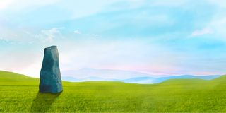 Sci-fi landscape with big stone green grass and sky, digital painting stock photography