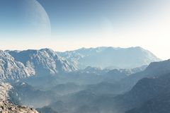 Sci-fi Landscape at Dawn. Alien Mountain landscape at dawn, 3d digitally rendered illustration royalty free illustration