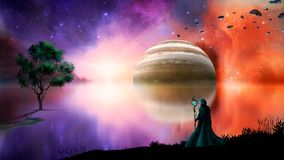 Sci-fi landscape digital painting with nebula, magician, gas gigant, lake and tree. Elements furnished by NASA. 3D rendering.  stock images