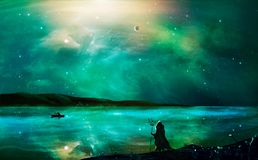Sci-fi landscape digital painting with nebula, magician, planet, mountain, fisherman and lake in green color. Elements furnished royalty free illustration