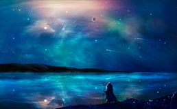 Sci-fi landscape digital painting with nebula, magician, planet, mountain and lake in blue color. Elements furnished by NASA. stock illustration
