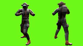 Sci fi mężczyzna walki Loopable animacja na zieleń ekranie 4K ilustracja wektor