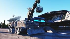 Sci fi maskin, vechicle i en futuristisk stad, stad Begreppet av framtiden framförande 3d Royaltyfria Bilder