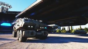 Sci fi maskin, vechicle i en futuristisk stad, stad Begreppet av framtiden framförande 3d Royaltyfri Fotografi