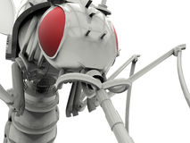 Sci-Fi mechanical creature. 3D rendered illustration of a sci-fi mechanical creature. The creature is isolated on a white background with no shadows and has red Royalty Free Stock Image