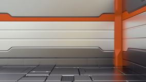 Sci-Fi metallic corridor background 3d render. spaceship interior vector illustration
