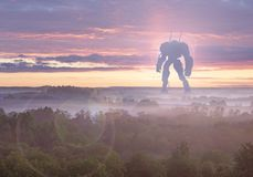 Sci-fi military giant battle machine. Humanoid robot in apocalypse countryside. Dystopia, science fiction, mech and stock image