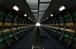 Sci-Fi modern cylinder corridor illuminated with neon lights