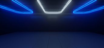 Sci Fi Modern Futuristic Dark Black Room With Reflections And Di. Fferent Rectlangle Shaped Neon Lights On The Ceiling reflected On Floor Empty Space 3D vector illustration
