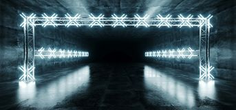 Sci Fi Modern Futuristic Long Tunnel Corridor Grunge Reflective. Concrete And Led Neon White Blue Stage Construction On Dark Empty Background 3D Rendering stock illustration