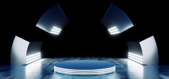 Sci Fi Modern Futuristic Neon Blue Vibrant Colors With Empty Circle Stage Hall Glowing With Big White Lights Studio On Grunge. Reflective Concrete Dark Room. 3D royalty free illustration