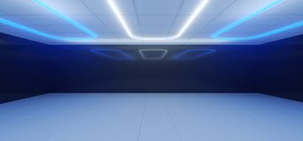 Sci Fi Modern Futuristic White And Black Blue Room With Reflecti. Ons And Neon Lights On The Ceiling Empty Space 3D Rendering Illustration vector illustration