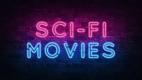 Sci-fi movies concept. Purple and Blue Neon SIGNBOARD on a dark brick wall. 3D ILLUSTRATION royalty free illustration