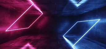 Sci Fi Neon Abstract Purple Blue Pink Glowing Rectangle Tube Shapes Lasers In Dark Empty Grunge Concrete Room Background. Reflections 3D Rendering Illustration stock illustration