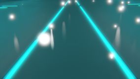 Sci-fi neon blue glowing lines on floor converging to a point 3d render stock illustration