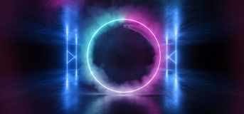 Sci Fi Neon Circle Smoke Glowing Light Vibrant Purple Blue Stage NIght Club Background Grunge Concrete Dark Tunnel Hall Corridor. Garage Spaceship Reflective royalty free illustration