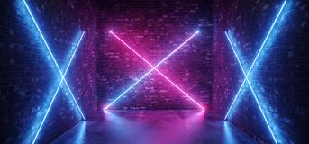 Sci Fi Neon Futuristic Modern Retro Cross Shaped Lights Glowing Gradient Pink Purple Blue In Dark Empty Room Brick Grunge Walls. Reflective Concrete Floor. 3D stock illustration