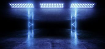Sci Fi Neon Glowing Light Vibrant Blue Stage NIght Club Background Grunge Concrete Dark Tunnel Hall Corridor Garage Spaceship. Reflective Futuristic 3D stock illustration
