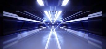 Sci Fi Neon Lights Futuristic Glowing Blue Laser Night Show Tunnel Corridor Reflective Concrete Alien Spaceship Shapes Dark. Background 3D Rendering vector illustration