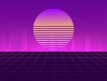Sci-Fi neon sunset in the style of 80s. Synthwave retro futuristic background. Retrowave. Vector. Illustration royalty free illustration