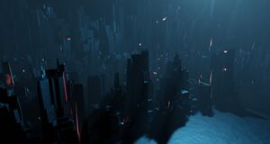 Free Sci-fi Night Landscape Fantastic City Light Blue Neon Glow Top View. Surrealistic Concept Of Alien Architecture Apocalypse. 3D Royalty Free Stock Photography - 184951827