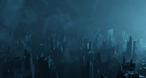 Free Sci-fi Night Landscape Fantastic City Light Blue Neon Glow Top View. Surrealistic Concept Of Alien Architecture Apocalypse. 3D Stock Photo - 184952110